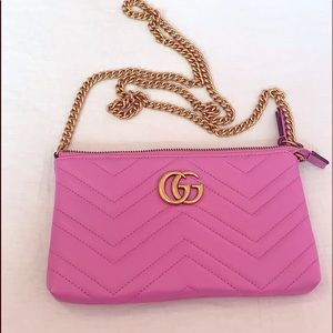 GUCCI GG Marmont 2.0 Leather Wallet on Chain